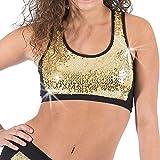 Gia Mia Girl's Sequin Block Dance Bra Top Medium (8-10) Gold