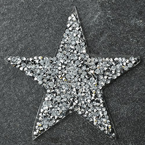 Star Shape Crystal Rhinestone iron-on Applique Patch by 1pc, 3-1/4