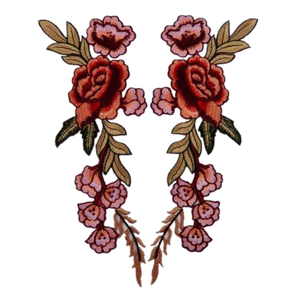 (Pack of 2) 7 Peony Flowers on Vine Embroidered Appliques Sew or Iron on Patches-Rose Zhiheng