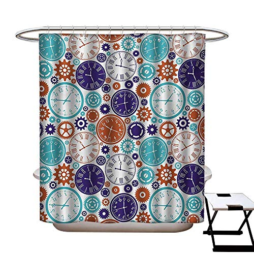 (Clock Shower Curtains Digital Printing Vintage Clock Mechanism Roman Numbers Hour and Minute Hand Pattern Print Satin Fabric Bathroom Washable W72 x L72 Blue and Dark Orange)