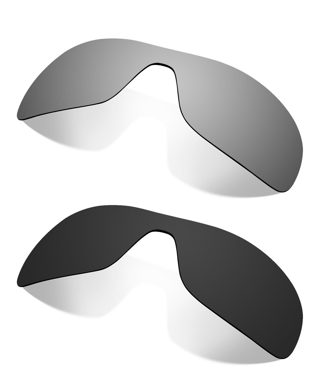Littlebird4 2 Pairs Polarized Replacement Lenses for Oakley Antix Sunglasses - Multiple Options (Black-Titanium)