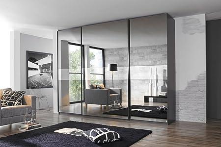 Armario de puertas correderas en frente de grafito con gris Espejo, 3 puertas, 4 estantes, 4 barras, dimensiones: B/H/T aprox. 315/223/69 cm: Amazon.es: Hogar