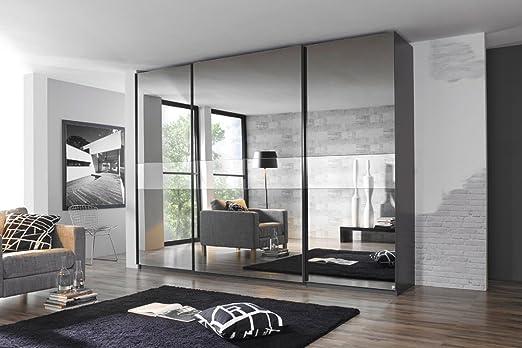 Armario de puertas correderas en frente de grafito con gris Espejo ...