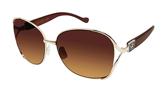 0ff4a200fe Image Unavailable. Image not available for. Color  Jessica Simpson Women s  J5254 Gld Non-Polarized Iridium Round Sunglasses Gold ...