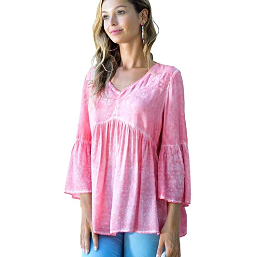 d15f37bcf73 OneWorld Bell Sleeve V Neck Embroidered Woven Blouse Tunic Top for Women  and Ladies Pink