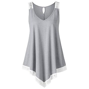 Mujeres Tops Rovinci Verano Moda Casual Cuello en V Encaje Swing Asimétrico Sólido Vestimenta Camisetas sin
