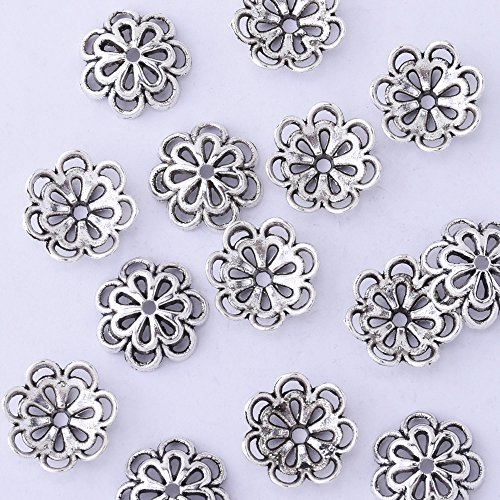 50pcs 15mm Hollow Out Flower Vintage Beads Cap,Filigree Beads Cap,end Cap,Flower Spacer Metal Beads,Antique Silver ()