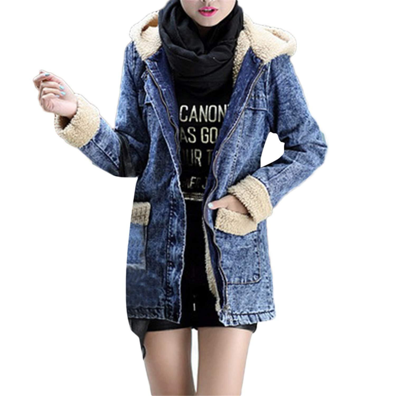 bluee Destjoy Coats 4XL Women Parkas Winter Long Pockets Zipper Hooded Wind Jean Denim Parkas Women Jacket Coat Casaco Feminino