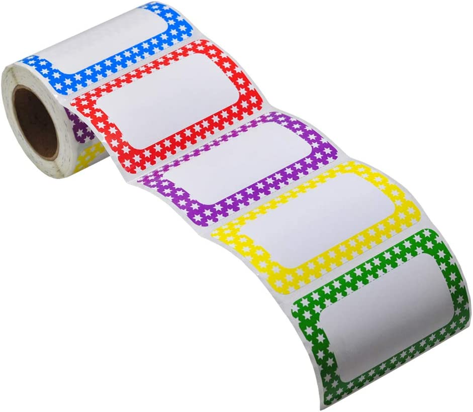 L LIKED 250 Stickers - Colors Plain Name tag Labels with Perforated Line for School Office Home (Star - 250 Labels)