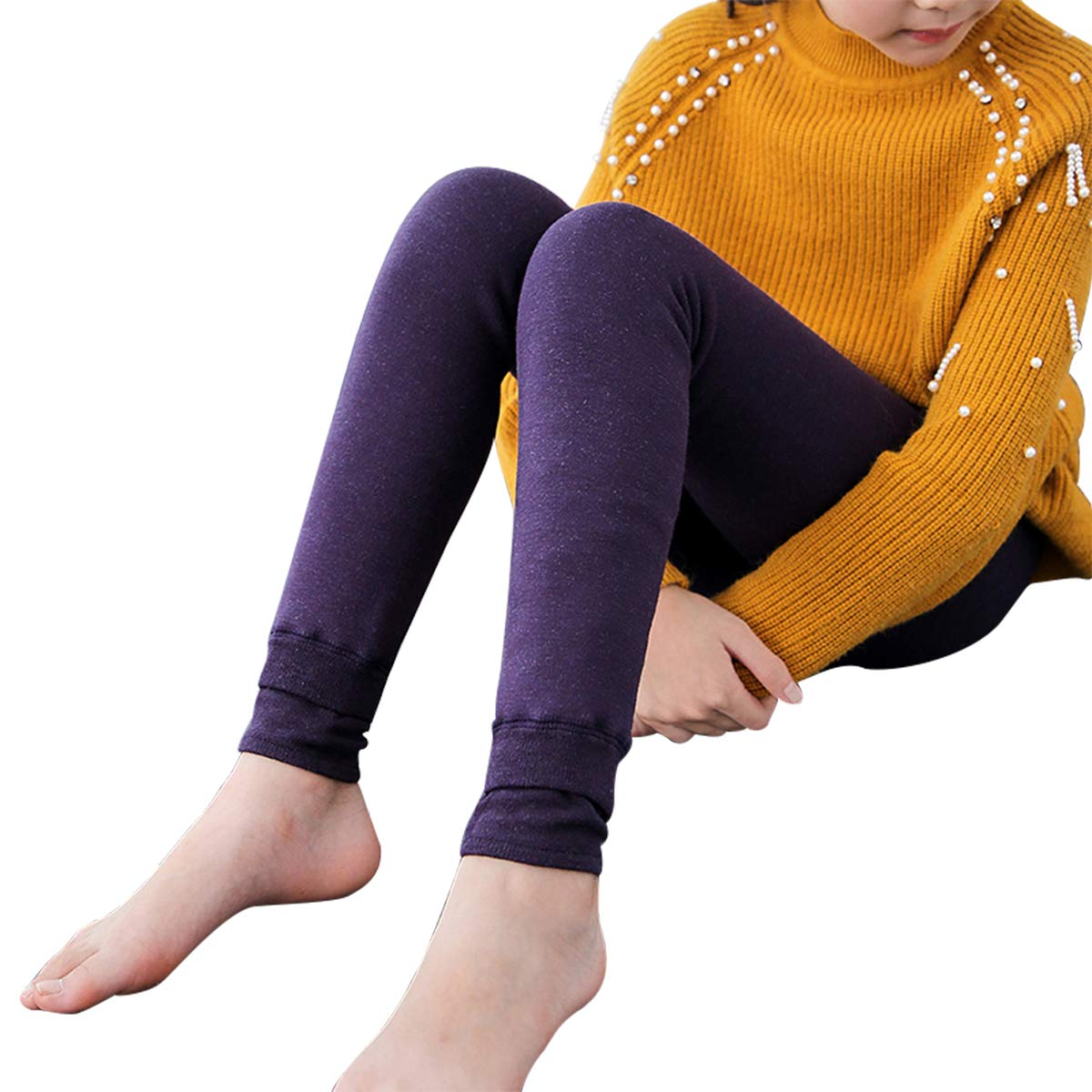 Rallytan Girls Thick Leggings Footless Warm Solid Colored Tight Pants Stockings