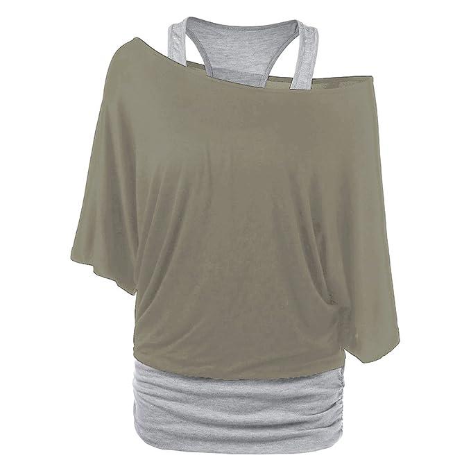 Damen Tshirt Set Langarm Sweatshirt + Weste - Hibote Frauen 2 Stück Shirts  Sexy Shulterfrei Bluse 5b6a958526