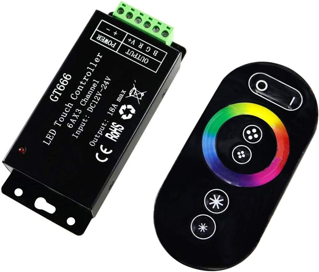 LEVEL GREAT Controlador de Toque Ligero DC12V-24V 6Ax3channel 18A RF sin Hilos 3 Controller RGB Touch GT666 Touch Panel RGB Controller LED Dimmer