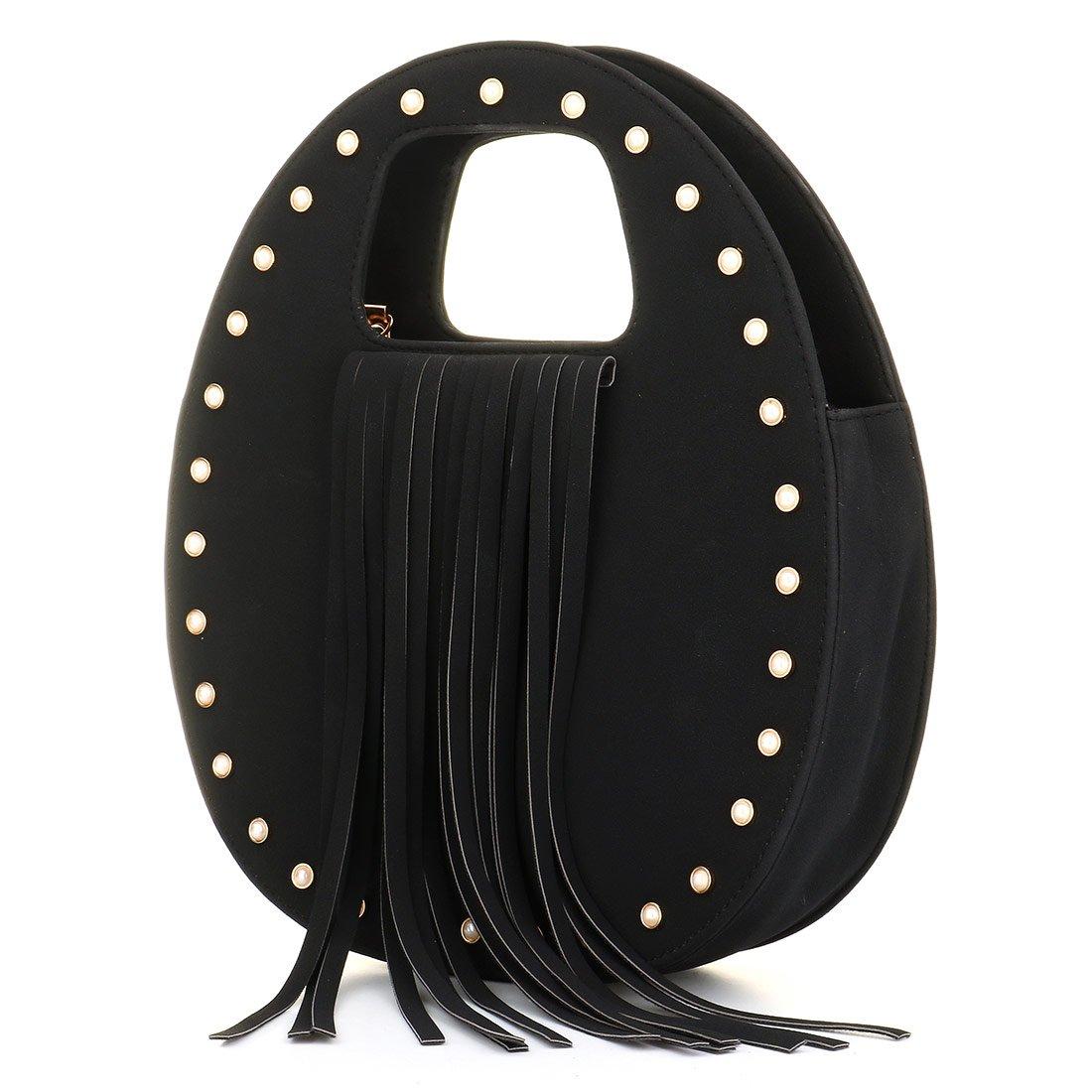 Women Handbag PU Leather Italy Fashion Top Handle Specialty Unique Bag Fringe Design Black