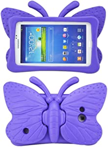 "Tading Kids Case for Samsung Galaxy Tab 4/3/3 Lite 7.0 inch Tablet, Lightweight Shockproof EVA Foam Super Protection Stand Cover for SM T230 P3200 T110 (Not Fit Samsung Galaxy Tab 3/4 10.1"") – Purple"