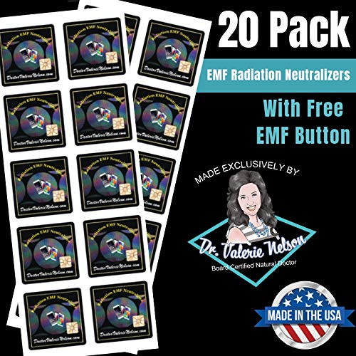 Cell Phone EMF Protection Radiation Neutralizers + Free $45 Voucher for 3 EMF Neutralizer Buttons - Slim Design - Proudly 100% USA Made - 20 Pack - Developed by Dr. Valerie Nelson