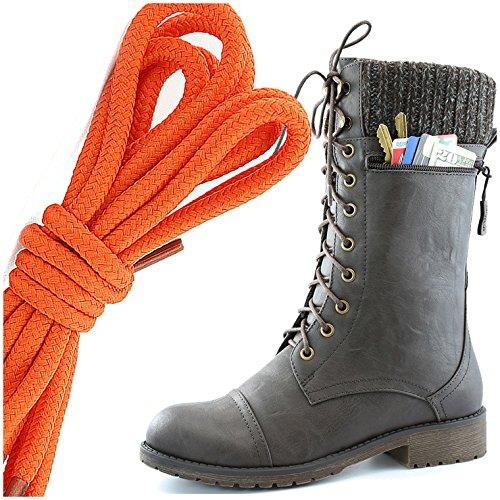 Dailyshoes Womens Bekämpa Stil Snörning Fotled Toffeln Rund Tå Militära Sticka Kreditkorts Kniv Pengar Plånbok Ficka Stövlar, Orange Brun Pu