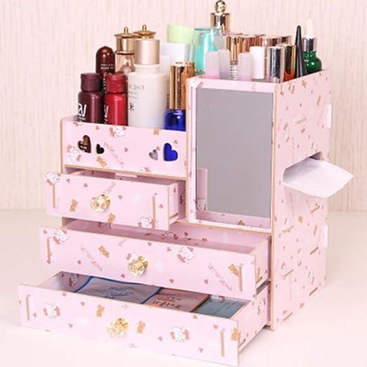 LMCLJJ Vanity Drawer Beauty Organizer Caja de almacenamiento de cosméticos de madera para ordenar y organizar Almacenamiento de herramientas de maquillaje Pequeños accesorios en el hogar y en la ofici: Amazon.es: Hogar