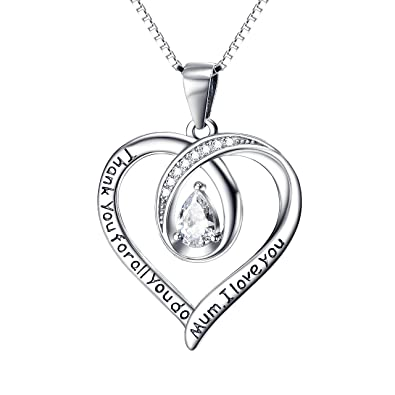 Gifts for Mum Necklace Mum Gifts Birthday Gifts for Mum Silver Necklace Mum Necklace I Love You Mum Heart Necklace CxYA1BT