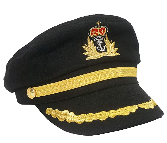 Roffatide Unisex Captain Costume Admiral Hat Yacht Skipper Cap Party  Snapback