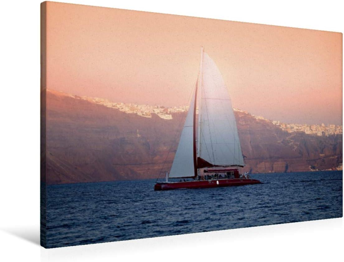 CALVENDO Premium Lienzo 90 cm x 60 cm Horizontal, Sunset Cruise, Imagen sobre Bastidor, Listo en Lienzo auténtico, impresión en Lienzo: Vela Antes de Santorini Orte Lugares
