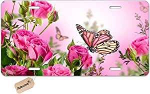 Amcove Flower Decor Butterfly Fliying on The Pink Rose Personalized Design License Plate Holder Durable Car Tag 6 X 12 Inches with 4 Holes