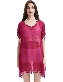 Ferand Vestido De Playa Verano Transparente con Borlas Camisola para Bikini  Traje de Baño - Mujer 119526dd3fe