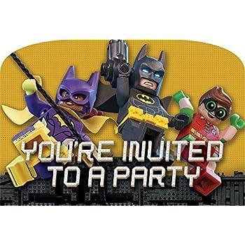61vVl6A3tAL._SL500_AC_SS350_ amazon com american greetings boy's lego batman invite postcards,Lego Batman Movie Invitations