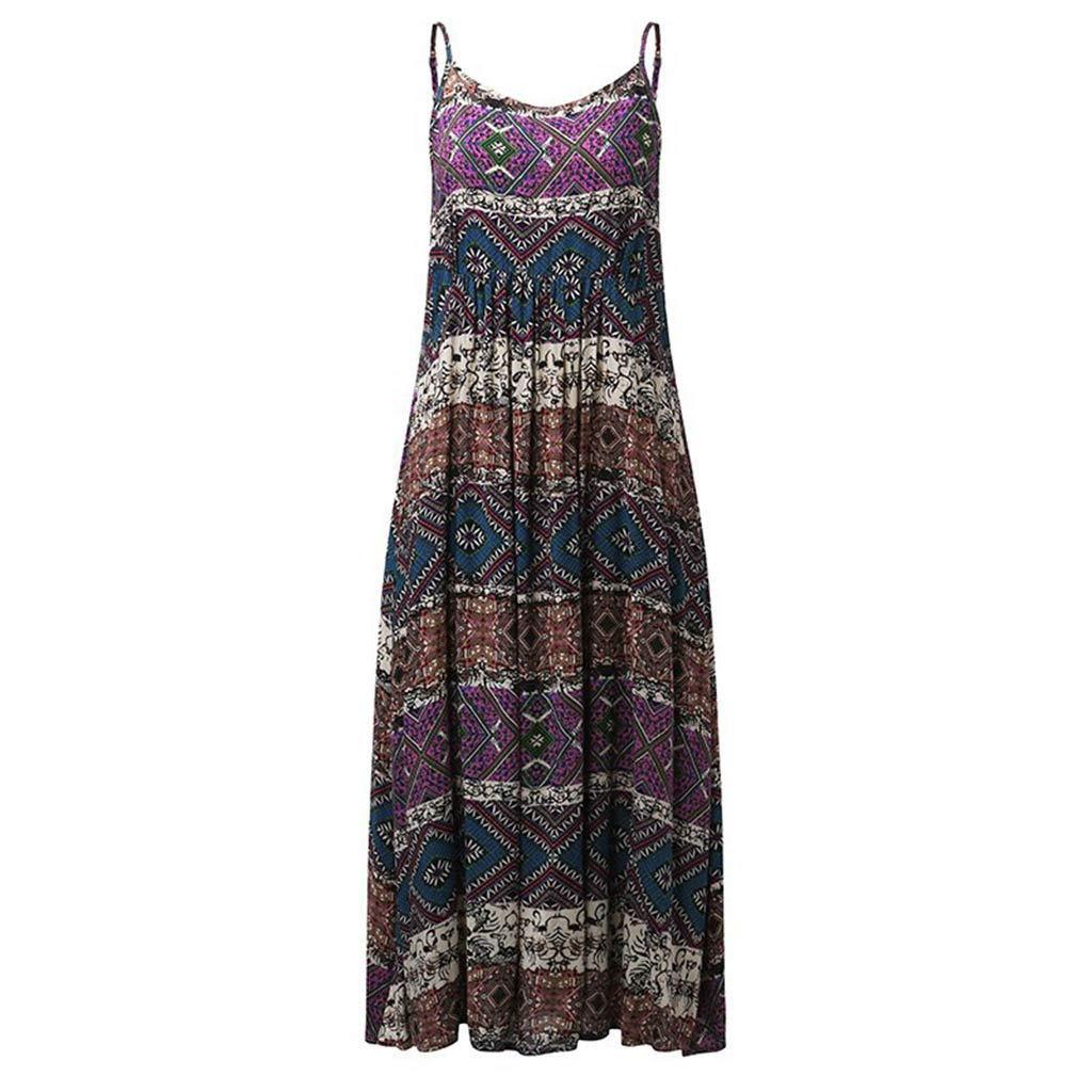 WUAI Womens Maternity Sleeveless Dress Bohemian Printed Camisole Maxi Dress S-4XL(Purple,Large)