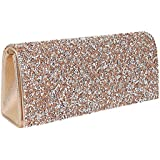 Naimo Bling Shiny Rhinestone Wedding Evening Party Clutch Handbag Purse (Champagne)