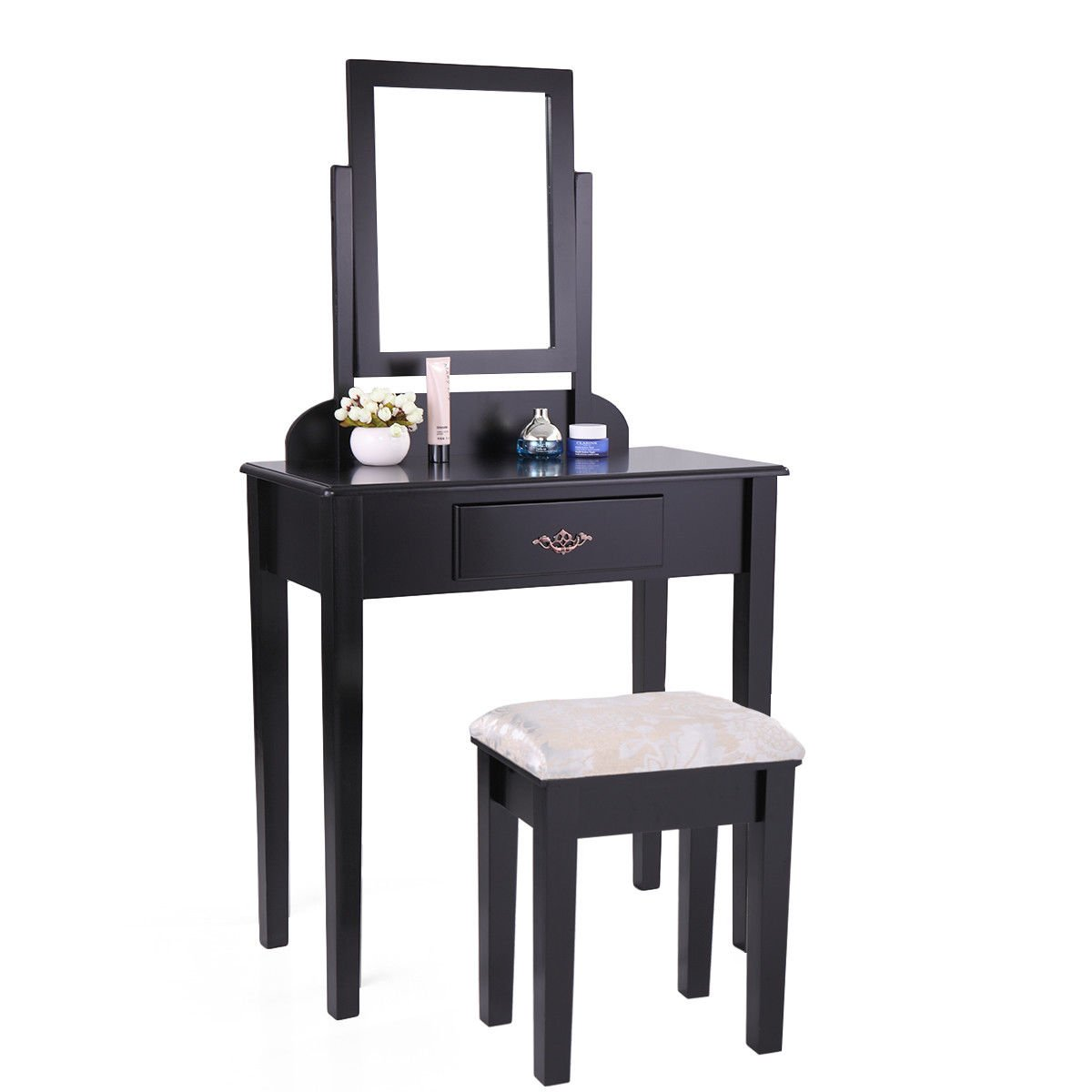 Tobbi Contemporary Dressing Mirror Table Set with Stool Bedroom Vanity  Table Black Finish