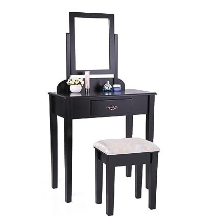 Amazon.com: Tobbi Contemporary Dressing Mirror Table Set with Stool ...