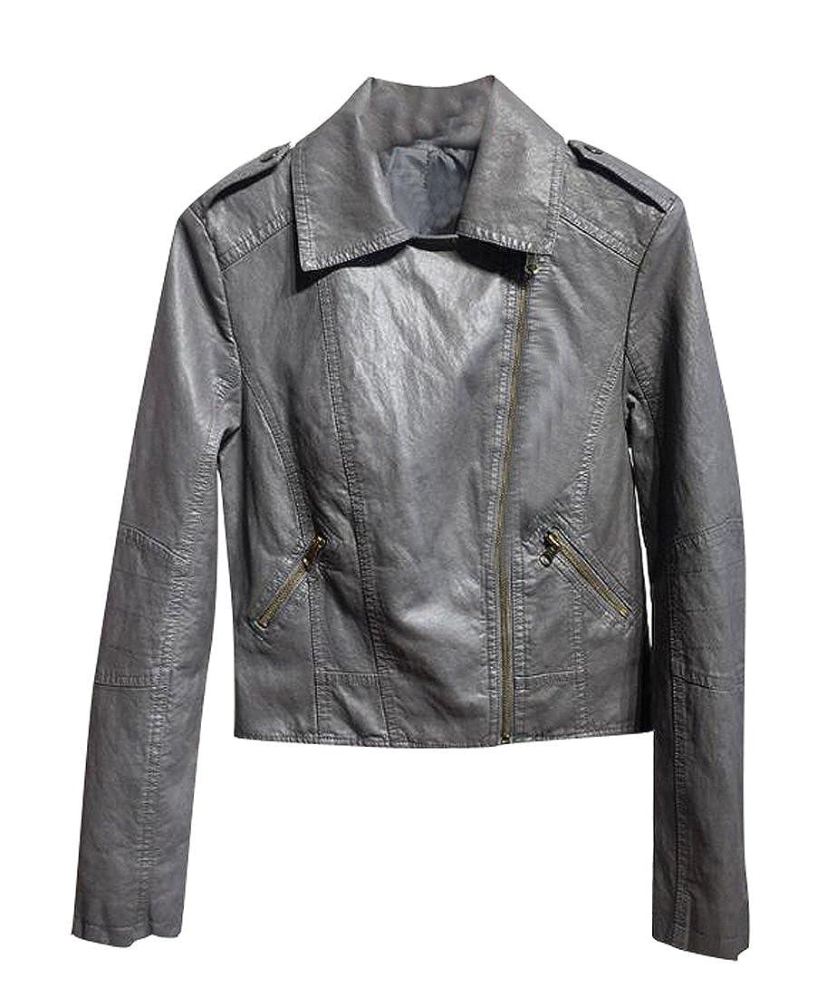 dc7e1df852329 Fensajomon Womens Lapel Zip Up Slim PU Leather Moto Coat Jackets Outwear at Amazon  Women s Coats Shop
