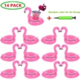 Flamingo Inflatable Drink Holder 14 Pack Drink Pool floats Cup Holder Floats Inflatable Floating Coasters Float Coaster for Pool Party Water Fun