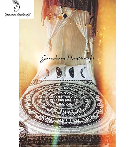 3eacfec3b GANESHAM Black & White Elephant Mandala Hippie Tapestry Queen Indian ...