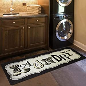 "USTIDE Retro Laundry Room Rug,Vintage Style Laundry Room Floor Mat for Wash Room Non Skid Kitchen Floor Mat Waterproof Entry Rug Bath Rug 20""x48"""