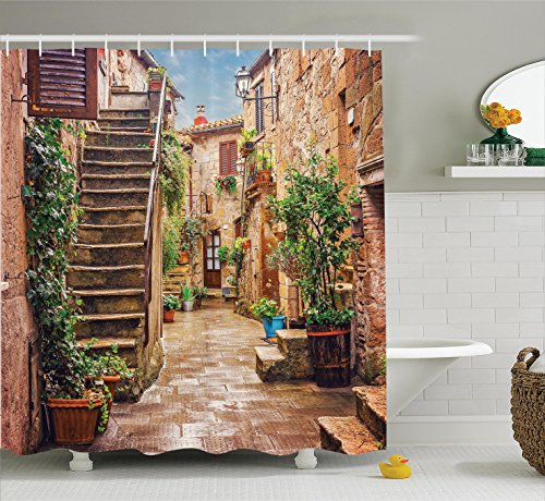 Tuscan Decor Shower Curtain Set By Ambesonne, View Of An Old Mediterranean  Street With Stone Rock Houses In Italian City Rural Culture Print, ...