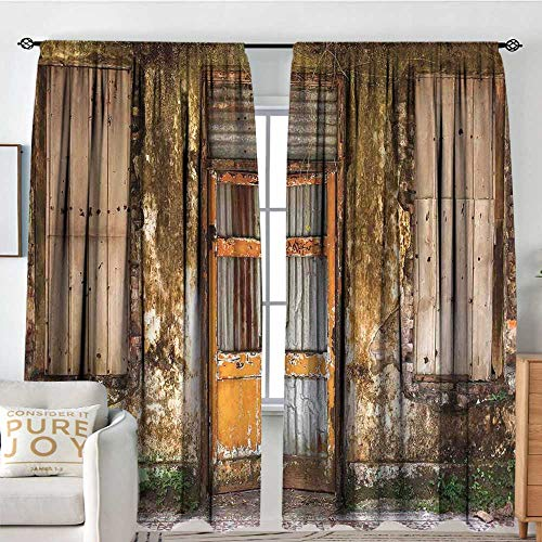 NUOMANAN Print Pattern Curtains Rustic,Damaged Shabby House with Boarded Up and Rusty Doors and Moldy Windows Photography,Multicolor,for Room Darkening Panels for Living Room, Bedroom 54