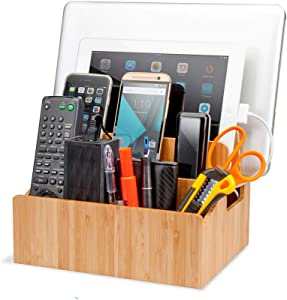 Bamboo Charging Station Organizer with Extension Extra Storage for Smartphones, Tablets, iPhone iPad, Samsung Devices Macbooks Laptops remotes & More