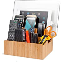 Bamboo Charging Station Organizer with Extension Extra Storage for Smartphones, Tablets, iPhone iPad, Samsung Devices…