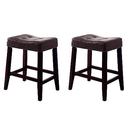 Miraculous Amazon Com Selva Set Of 2 24 Wood Saddle Leather Bar Inzonedesignstudio Interior Chair Design Inzonedesignstudiocom