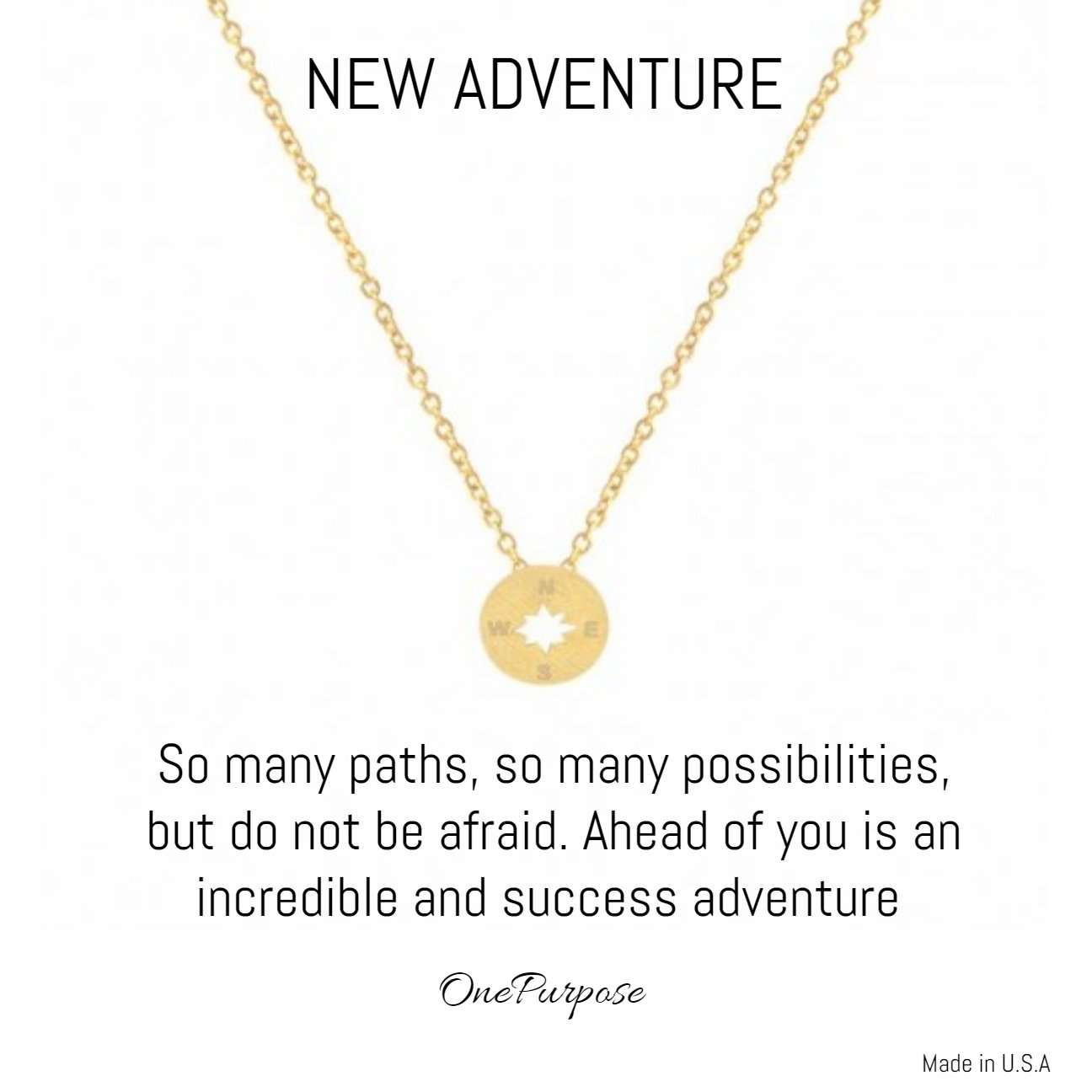 OnePurposeGifts New Adventure Compass Disc Chain Necklace (Gold)