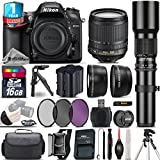 Holiday Saving Bundle for D7200 DSLR Camera + 18-105mm VR Lens + 500mm Telephoto Lens + Backup Battery + 1yr Extended Warranty + Ultra Fast 16GB Class 10 + Case + T-Mount - International Version