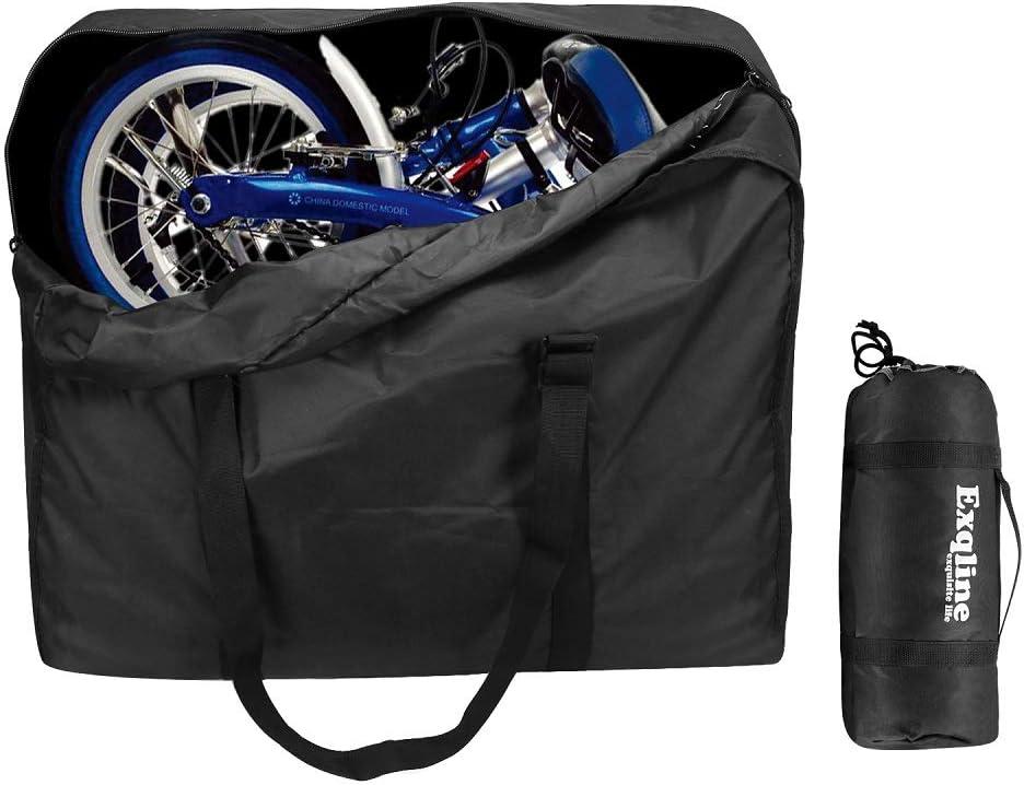 Bolsa de Transporte de Bicicleta Plegable, Exqline 1680D Oxford Bolsa de Almacenamiento de Bicicleta Bolsa de Transporte Bolsa de Viaje de Bicicleta para 14