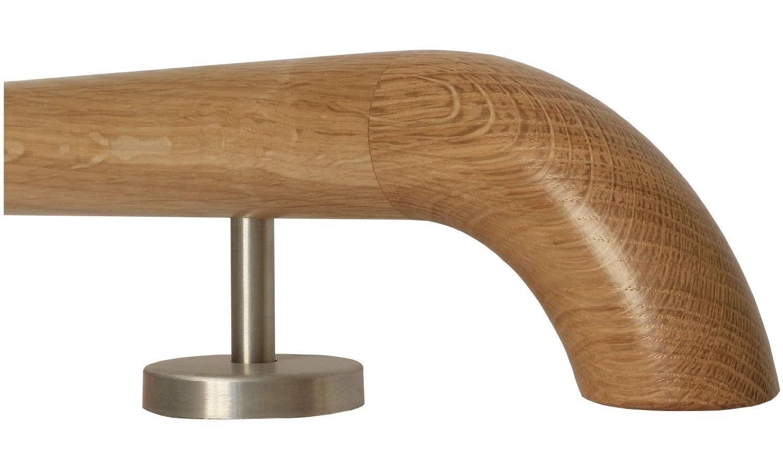 Enden = gefast L/änge 30-500 cm aus einem St/ück//zum Beispiel L/änge 110 cm mit 2 gerade Halter Eiche Holz Treppe Handlauf Gel/änder Griff gerade Edelstahlhalter