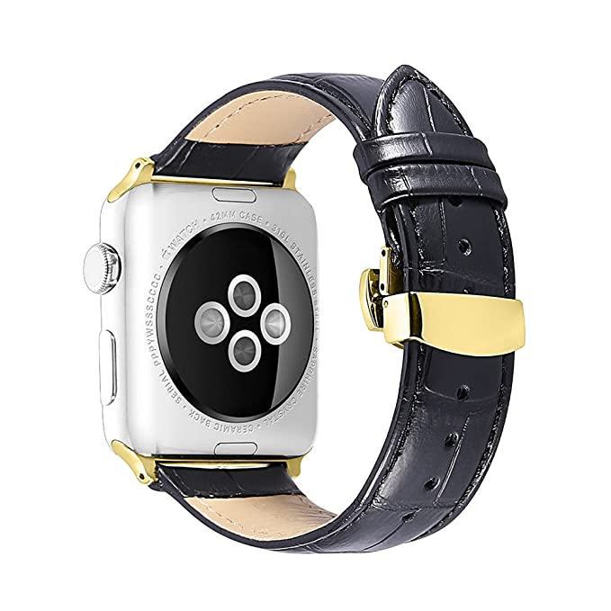 iStrap Alligator Grain Calf Leather Compatible/Replacement for Apple Watch Band Strap iWatch Series 4 3 2 1 Edition Sport 38mm 42mm 40mm 44mm