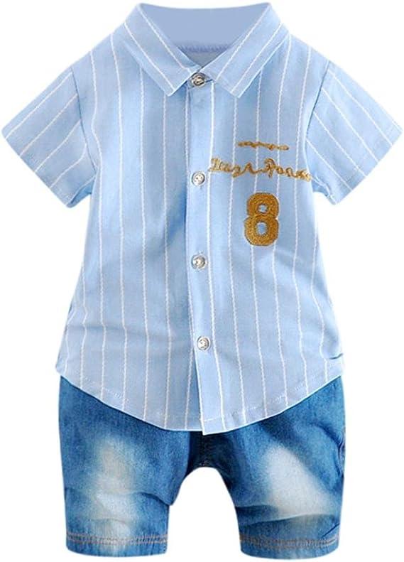 Fossen Ropa Bebe Ni/ño Verano Camiseta sin Mangas a Rayas y Pantalones Cortos para Reci/én Nacidos Ni/ña Ni/ño