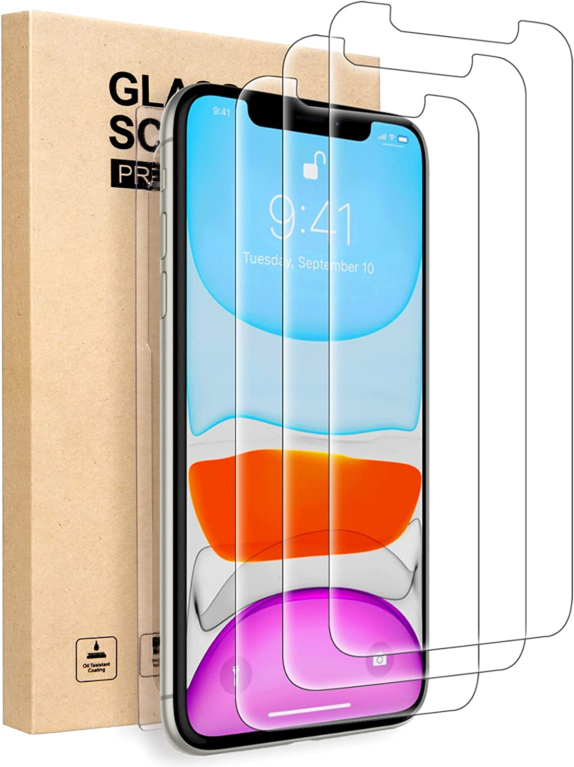 IKABO Compatible with iPhone XR Screen Protector, iPhone 11 Screen Protector, Tempered Glass Film for Apple iPhone XR and iPhone 11, 6.1 Inch 3 Pack [Free Alignment Tool]