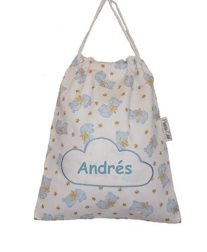 Bolsa merienda en pique con osos azules, personalizada con ...