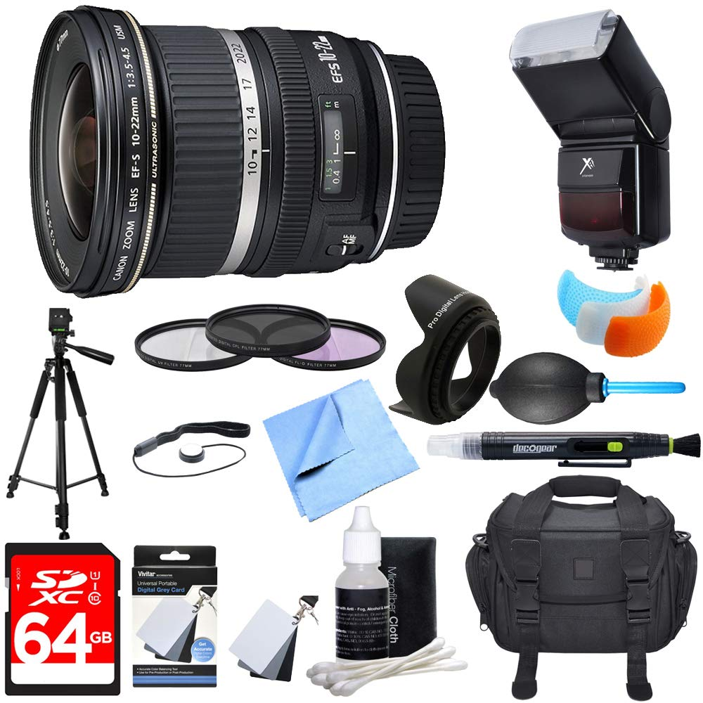 Canon (9518A002) EF-S 10-22mm F/3 5-4 5 USM Lens w/ Ultimate Accessory  Bundle includes Lens, 64GB SDXC Memory Card, Flash, Flash Cover, Tripod,  77mm