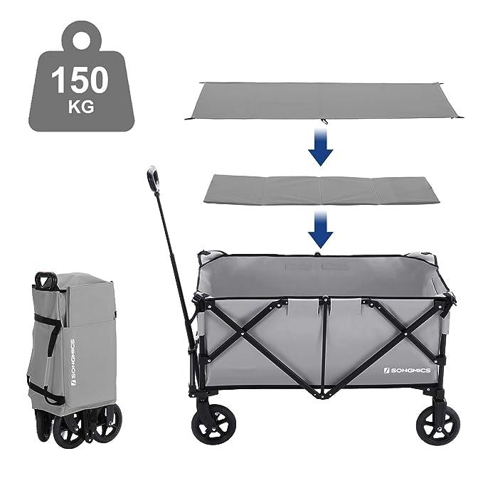 SONGMICS Carrito de Jardín Plegable, Aluminio, Carga Máxima de 150 kg, Carro de Transporte con 4 Ruedas y Frenos de Acero, Prueba TÜV Rheinland, Uso ...